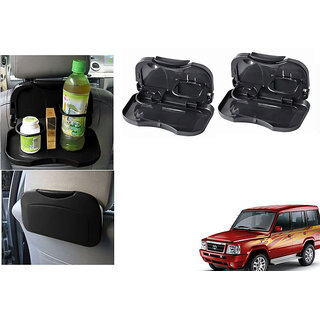 Kunjzone  Foldable Car Dining Meal Drink Tray Black Set Of 2  For Tata Sumo type 1