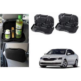 Kunjzone  Foldable Car Dining Meal Drink Tray Black Set Of 2  For Skoda Octavia