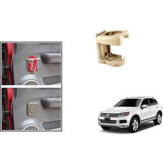 Kunjzone  Foldable Car Drink/Bottle Holder Beige For Volkswagen Touareg