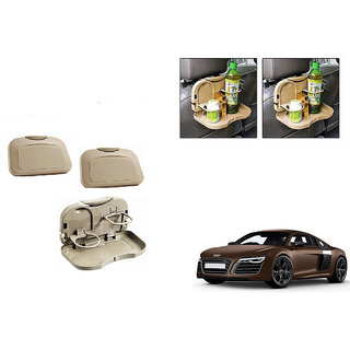 Kunjzone  Foldable Car Dining Meal Drink Tray BEIGE Set Of 2 For Audi R8