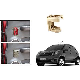 Kunjzone  Foldable Car Drink/Bottle Holder Beige For Nissan Micra Active
