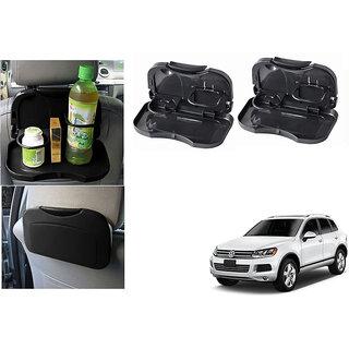 Kunjzone  Foldable Car Dining Meal Drink Tray Black Set Of 2  For Volkswagen Touareg