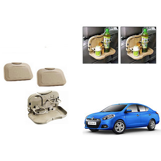 Kunjzone  Foldable Car Dining Meal Drink Tray BEIGE Set Of 2 For Renault Scala