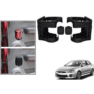 Kunjzone  Foldable Car Drink/Bottle Holder Black Set Of 2 For Mitsubishi Lancer