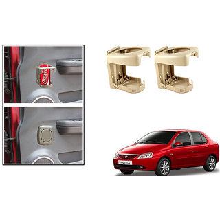 Kunjzone  Foldable Car Drink/Bottle Holder Beige Set of 2 For Tata Indigo