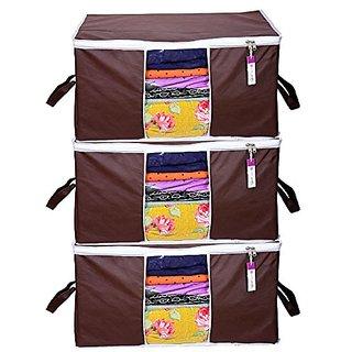 Prettykrafts Underbed Storage Bag, Storage Organizer, Blanket Cover with Side Handles (Set of 3 pcs) - Brown