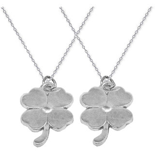 Sullery Stylish Flower Couple Silver  Zinc  Necklace Pendant For Men And Women