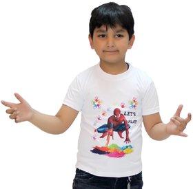 Kaku Fancy Dresses Spider Man Printed Holi Round Neck Half Sleeves T-Shirt -Multicolor