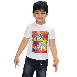 Kaku Fancy Dresses Radhe Radhe Printed Half Sleeves Round Neck Holi T-Shirt Multicolor