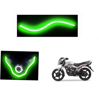 Kunjzone   Flexible 30cm Bike Headlight Neon LED DRL Tube GREEN For TVS Victor