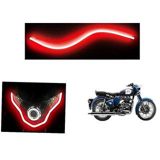 Kunjzone   Flexible 30cm Bike Headlight Neon LED DRL Tube RED For  Enfield Bullet 350