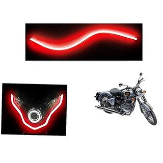 Kunjzone   Flexible 30cm Bike Headlight Neon LED DRL Tube RED For  Enfield Bullet 500