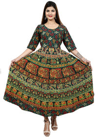 Dhruvi Casual Wear Cotton Long Maxi Dress in Jaipuri Print & Design (Free Size Up to 44)