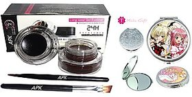 Music Flower Long Wear Gel Eye Liner (24 H Eye Studio) 6 G (Black , Brown) With Mini Mirror
