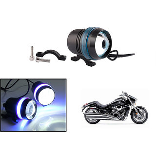 KunjZone Waterproof U3 With Blue LED Ring CREE 30 watt LED Motorcycle Bike Additional Headlights - Super Bright U3 With Blue LED Ring Laser Gun Used for Front Spot Light( 30W CREE) (1PC) For Suzuki Intruder M1800R