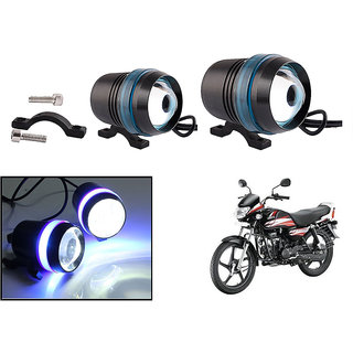 KunjZone Waterproof U3 With Blue LED Ring CREE 30 watt LED Motorcycle Bike Additional Headlights - Super Bright U3 With Blue LED Ring Laser Gun Used for Front Spot Light( 30W CREE) (Set Of 2) For Hero HF Deluxe Eco