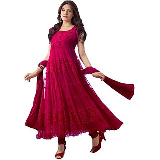 Florence Women's Red Brasso Semi Stitched Dress Material
