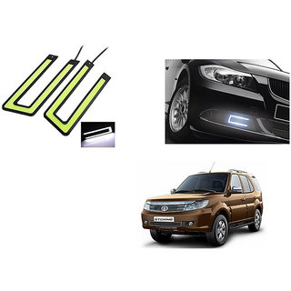 Kunjzone Slim Daytime LED DRL Set of 2 U Shape-Blue For Tata Safari