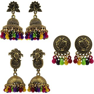 Combo of Small Jhumka Color full Beads Fancy Casual Wear Earrings for Women