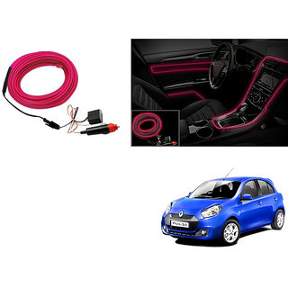 Kunjzone Car Interior Ambient Wire Decorative LED Light Pink For Renault Pulse