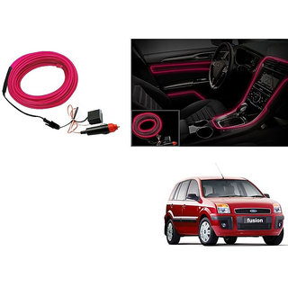 Kunjzone Car Interior Ambient Wire Decorative LED Light Pink For Ford Fusion