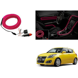 Kunjzone Car Interior Ambient Wire Decorative LED Light Pink For Maruti Swift