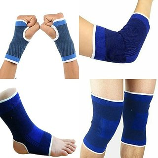 Combo of knee Palm Elbow Ankle Support (Free Size Blue)