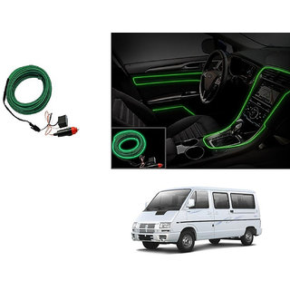 Kunjzone Car Interior Ambient Wire Decorative LED Light Green For Tata Winger