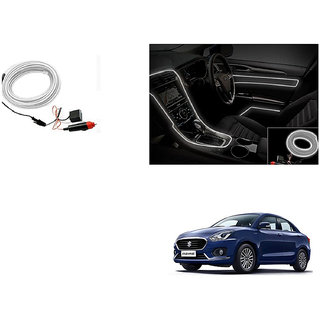 Kunjzone Car Interior Ambient Wire Decorative LED Light White For Maruti Suzuki New Swift Dzire (Type 3 2017)