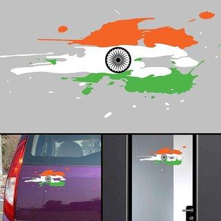 Indian Flag car Sticker 12x5 inch