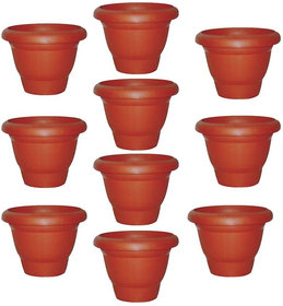 Plastic Brown Small (8 Inch) Planter Pot Outdoor Garden Pot Small Plants Garden Pots - Pack of 10