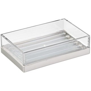 InterDesign Clarity Soap Dish for Bathroom and Kitchen - Clear - Pack of 2
