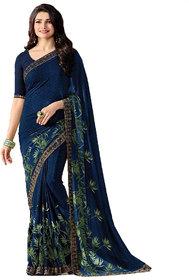 Samarth Fab Blue Color Georgette Printed Casual Wear Wedding Wear Party Wear Festive Wear Regular Free Size Bollywood Designer Saree With Blouse Piece