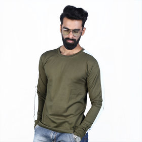 The Royal Swag Men's Cotton Full Sleeve T-Shirt - Army Green Panel
