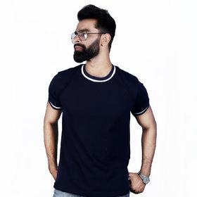 The Royal Swag Men's Cotton Half Sleeve T-Shirt - Navy Blue Classic