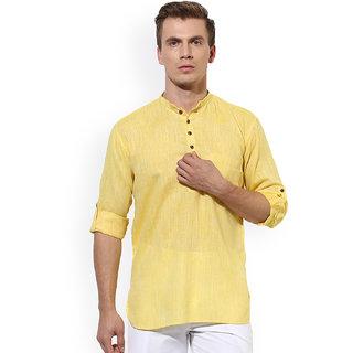 Men Stylish Yellow Solid Straight Kurta