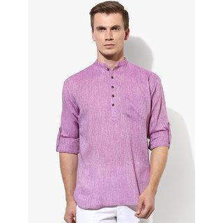 Men Stylish Purple Solid Straight Kurta