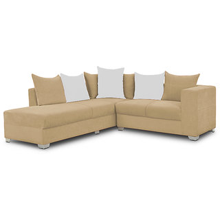 houzzcraft martiness L shaped sofa brown