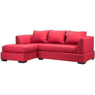 houzzcraft orchid L shape sofa pink