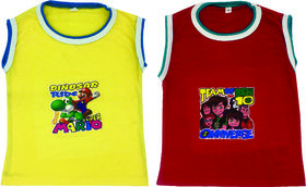 Om Shree Multicolor Kids Sleeveless T-Shirt (Pack of 2)