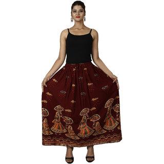Decot Paradise Women's Rajasthani Printed Skirt Maroon Rajasthani Printed Skirt