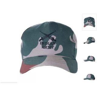 622666addc6 Buy Karnavati Khaki Cotton Militry Cap For Men Pack of 2 Online ...