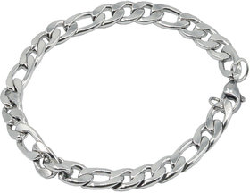 Sullery 11mm widthFigaro Link Chain Silver  Stainless Steel  Bracelet For Men And Women