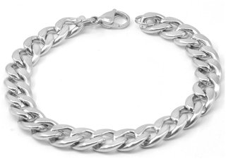 Sullery 10mm widthCurban Curb Link Chain Silver  Stainless Steel  Bracelet For Men And Women
