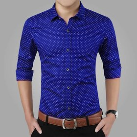 29K Blue Dotted Slim Fit Casual Shirt For Men