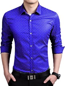 29K Blue Dotted Cotton Button down Slim Fit Casual Shirts For Men