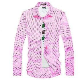 29K Mens Slimfit Pink Dotted Shirt