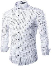 29K Mens Slimfit White Dotted Shirt