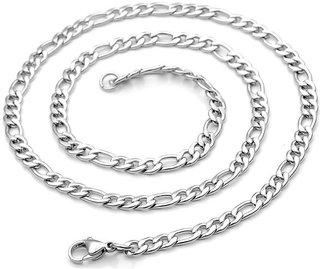 Sullery 6mm Thickness Figaro Link With Lobster Clasp Silver Stainless Steel Chain For Men And Women