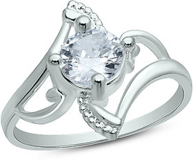 18K White Gold Fn CZ Sterling Silver Ring Engagement Wedding